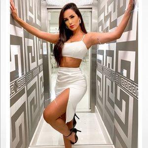 Fashion Nova Making You Famous Satin Skirt Set